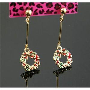 Colorful dangle Christmas wreath earrings